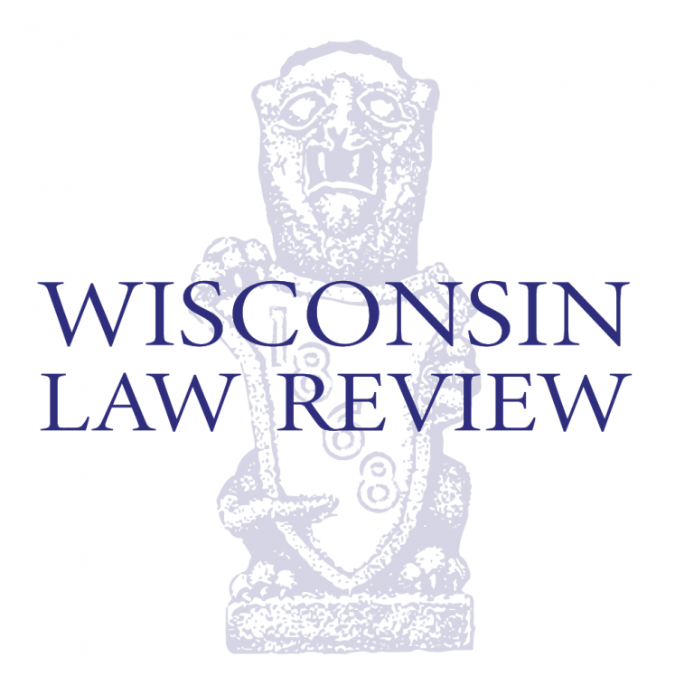Photo of Wisconsin Law Review logo- gargoyle holding a shield.
